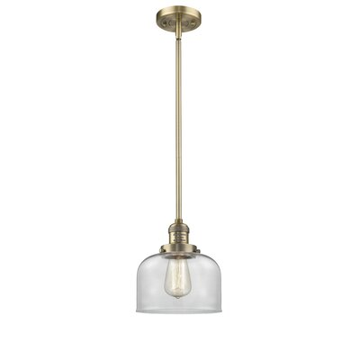 Large Bell 1-Light Mini Pendant Finish: Brushed Brass, Shade Color: Clear