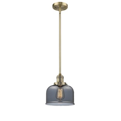 Large Bell 1-Light Mini Pendant Finish: Brushed Brass, Shade Color: Smoked