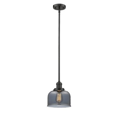 Glass Bell 1-Light Pendant Finish: Oiled Rubbed Bronze, Shade Color: Smoked