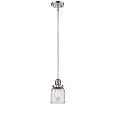 Glass Bell 1-Light Pendant Finish: Polished Nickel, Shade Color: Clear