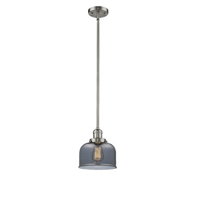 Glass Bell 1-Light Pendant Finish: Satin Nickel, Shade Color: Smoked