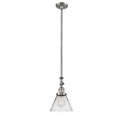 Glass Cone 1-Light Mini Pendant Finish: Brushed Satin Nickel, Shade Color: Clear