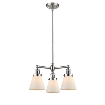 3-Light Pool Table Light Finish: Brushed Satin Nickel, Shade Color: Matte White Cased, Size: 41 H x 19 W x 11 D