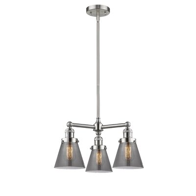 3-Light Pool Table Light Finish: Brushed Satin Nickel, Shade Color: Smoked, Size: 41 H x 19 W x 11 D