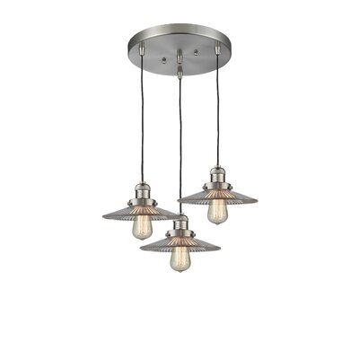 Holophone Glass 3-Light Pendant Finish: Satin Nickel