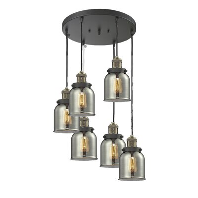 Small Bell 6-Light Cluster Pendant Finish: Black Brushed Brass, Shade Color: Smoked
