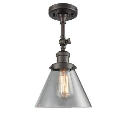 Glass Cone 1-Light Semi Flush Mount Finish: Oil Rubbed Bronze, Shade Color: Clear, Size: 12 H x 8 W