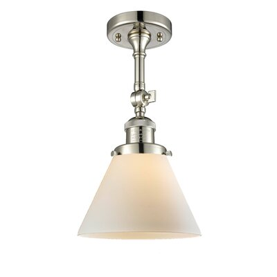 Glass Cone 1-Light Semi Flush Mount Finish: Polished Nickel, Shade Color: Matte White Cased, Size: 12 H x 8 W