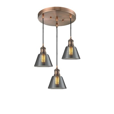 Glass Cone 3-Light Pendant Finish: Antique Copper, Shade Color: Smoked, Size: 132 H x 12 W x 12 D