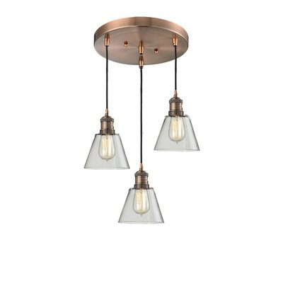 Glass Cone 3-Light Pendant Finish: Antique Copper, Shade Color: Clear, Size: 132 H x 12 W x 12 D