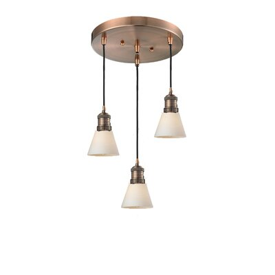 Glass Cone 3-Light Pendant Finish: Antique Copper, Shade Color: Matte White Cased, Size: 132 H x 12 W x 12 D