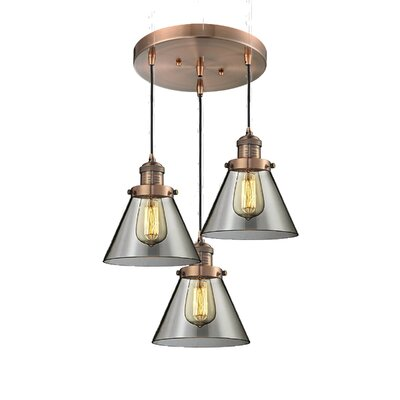 Glass Cone 3-Light Pendant Finish: Antique Copper, Shade Color: Smoked, Size: 135 H x 13 W x 13 D