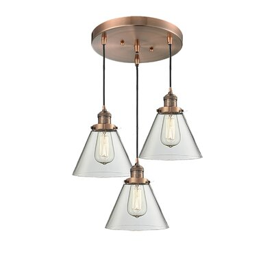 Glass Cone 3-Light Pendant Finish: Antique Copper, Shade Color: Clear, Size: 135 H x 11 W x 11 D