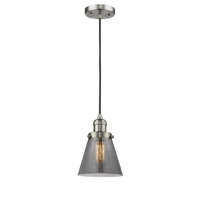 Pachna Glass Cone 1-Light Pendant Finish: Satin Nickel, Shade Color: Smoked, Size: 8.25 H x 6.25 W