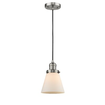 Pachna Glass Cone 1-Light Pendant Color: Brushed Satin Nickel, Shade Color: Matte White Cased, Size: 8.25 H x 6.25 W