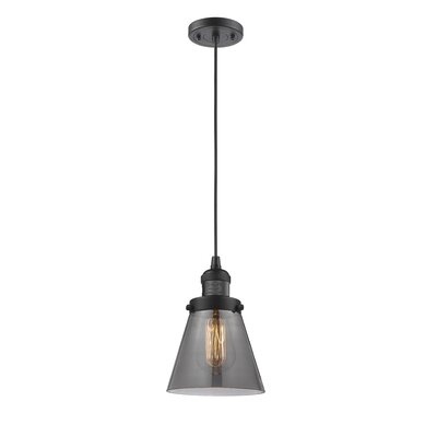 Pachna Glass Cone 1-Light Pendant Color: Oil Rubbed Bronze, Shade Color: Smoked, Size: 8.25 H x 6.25 W