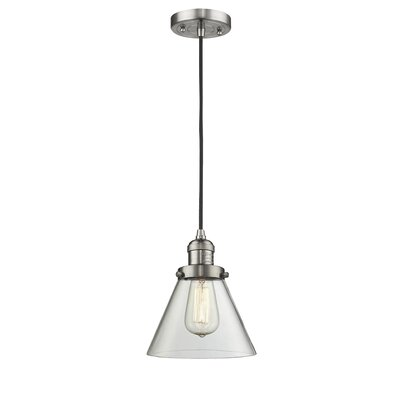 Pachna Glass Cone 1-Light Pendant Color: Brushed Satin Nickel, Shade Color: Clear, Size: 10 H x 8 W