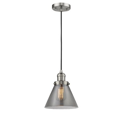 Pachna Glass Cone 1-Light Pendant Color: Brushed Satin Nickel, Shade Color: Smoked, Size: 10 H x 8 W