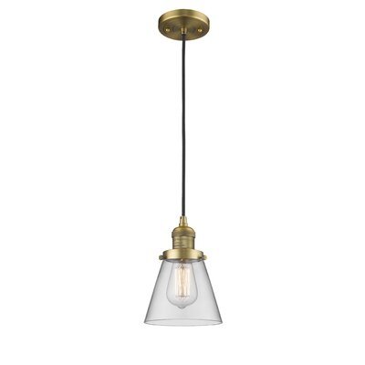 Pachna Glass Cone 1-Light Pendant Color: Brushed Brass, Shade Color: Clear, Size: 8.25 H x 6.25 W