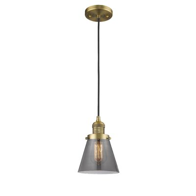 Pachna Glass Cone 1-Light Pendant Color: Brushed Brass, Shade Color: Smoked, Size: 8.25 H x 6.25 W