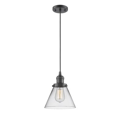 Pachna Glass Cone 1-Light Pendant Finish: Polished Nickel, Shade Color: Smoked, Size: 8.25 H x 6.25 W