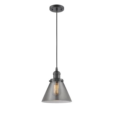 Pachna Glass Cone 1-Light Pendant Color: Oil Rubbed Bronze, Shade Color: Smoked, Size: 10 H x 8 W