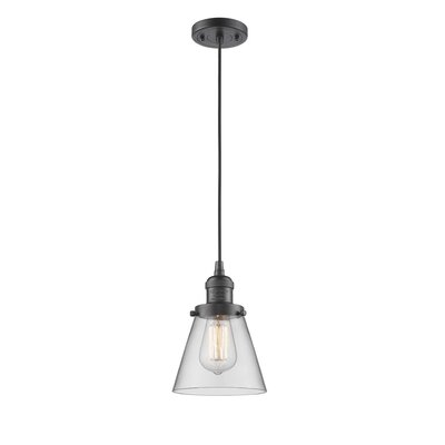 Pachna Glass Cone 1-Light Pendant Color: Oil Rubbed Bronze, Shade Color: Clear, Size: 8.25 H x 6.25 W