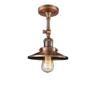 Railroad 1-Light Semi Flush Mount Finish: Antique Copper