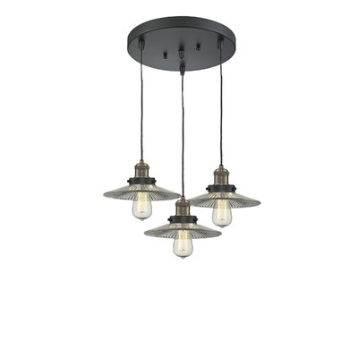Halophone 3-Light Cluster Pendant Finish: Black Brushed Brass