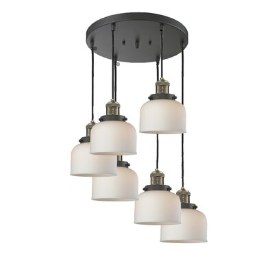 Large Bell 6-Light Cluster Pendant Finish: Black Brushed Brass, Shade Color: Matte White Cased