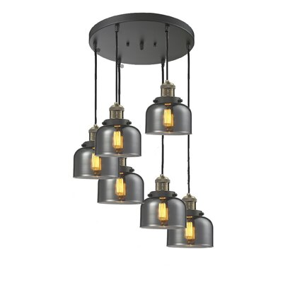 Large Bell 6-Light Cluster Pendant Finish: Black Brushed Brass, Shade Color: Smoked