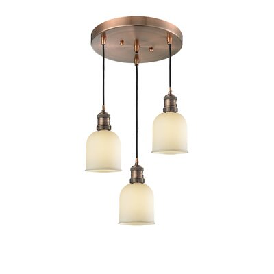 Glass Bell 3-Light Pendant Finish: Antique Copper, Shade Color: Matte White Cased, Size: 5 x 6