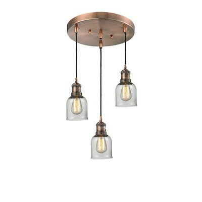 Glass Bell 3-Light Pendant Finish: Antique Copper, Shade Color: Clear, Size: 11 x 11