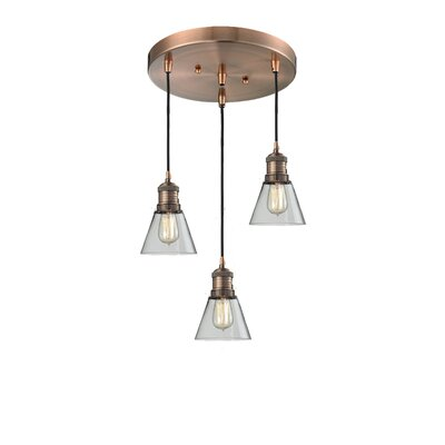 Glass Bell 3-Light Pendant Finish: Polished Nickel, Shade Color: Matte White Cased, Size: 11 x 11