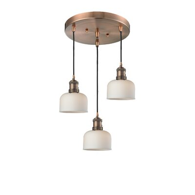 Glass Bell 3-Light Pendant Finish: Antique Copper, Shade Color: Matte White Cased, Size: 13 x 13