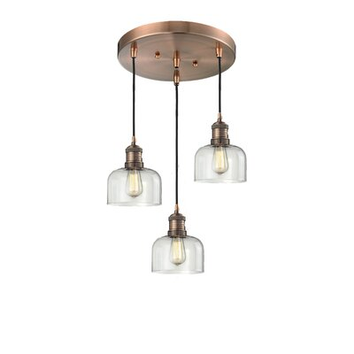 Glass Bell 3-Light Pendant Finish: Antique Copper, Shade Color: Clear Bell, Size: 11 x 11