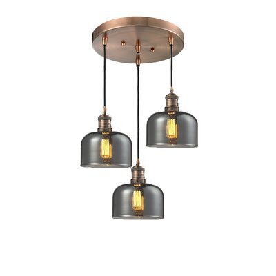Glass Bell 3-Light Pendant Finish: Antique Copper, Shade Color: Smoked, Size: 13 x 13