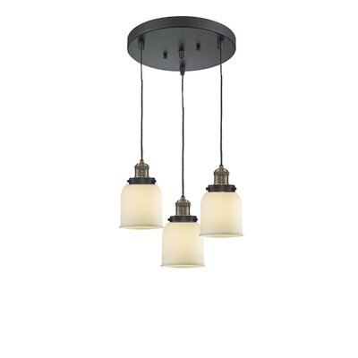 Glass Bell 3-Light Pendant Finish: Black Brushed Brass, Shade Color: Matte White Cased, Size: 5 x 6
