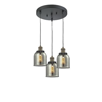 Glass Bell 3-Light Pendant Finish: Black Brushed Brass, Shade Color: Smoked, Size: 5 x 6