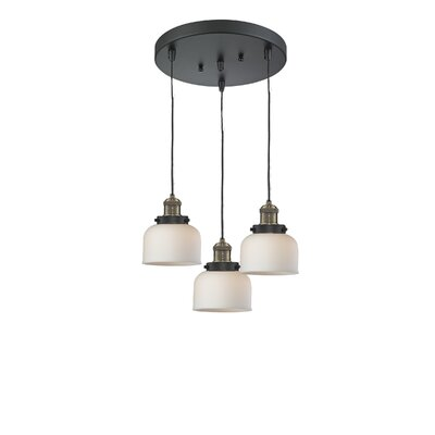 Glass Bell 3-Light Pendant Finish: Black Brushed Brass, Shade Color: Matte White Cased, Size: 11 x 11