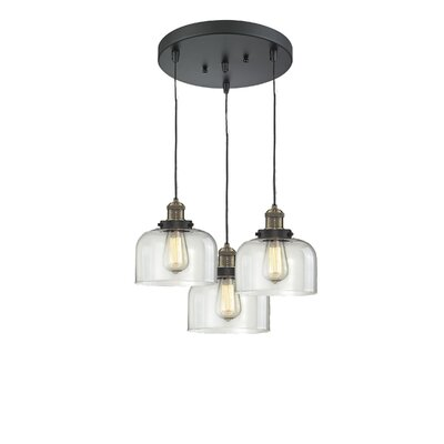 Glass Bell 3-Light Pendant Finish: Black Brushed Brass, Shade Color: Clear Bell, Size: 11 x 11