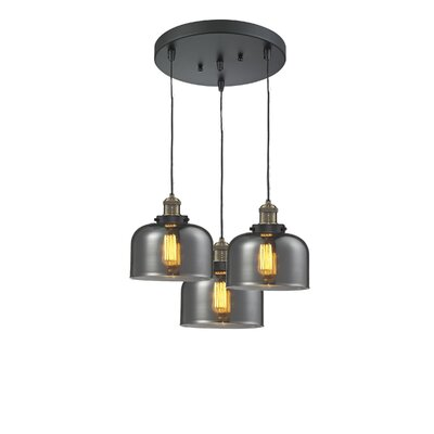 Glass Bell 3-Light Pendant Finish: Black Brushed Brass, Shade Color: Smoked, Size: 11 x 11