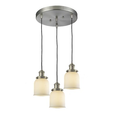 Glass Bell 3-Light Pendant Finish: Brushed Satin Nickel, Shade Color: Matte White Cased, Size: 5 x 6
