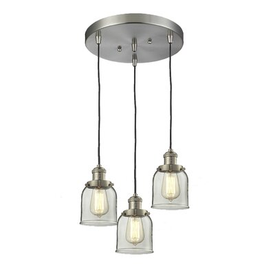 Glass Bell 3-Light Pendant Finish: Brushed Satin Nickel, Shade Color: Clear Bell, Size: 5 x 6