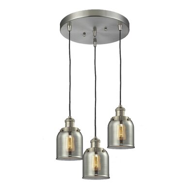Glass Bell 3-Light Pendant Finish: Brushed Satin Nickel, Shade Color: Smoked, Size: 5 x 6