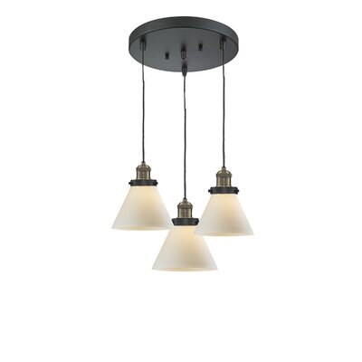 Glass Cone 3-Light Pendant Finish: Black Brushed Brass, Shade Color: Matte White Cased, Size: 135 H x 11 W x 11 D