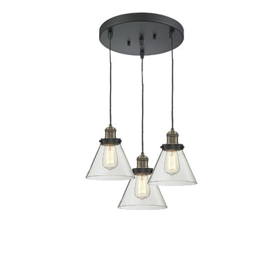 Glass Cone 3-Light Pendant Finish: Black Brushed Brass, Shade Color: Clear, Size: 135 H x 11 W x 11 D