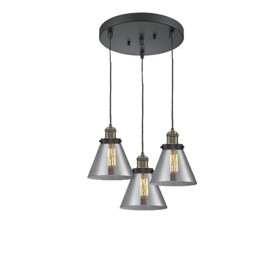 Glass Cone 3-Light Pendant Finish: Black Brushed Brass, Shade Color: Smoked, Size: 135 H x 11 W x 11 D