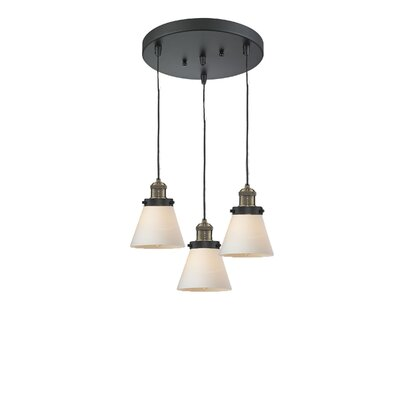 Glass Cone 3-Light Pendant Finish: Black/Brushed Brass, Shade Color: Matte White Cased, Size: 132 H x 12 W x 12 D