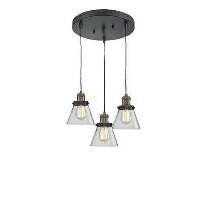 Glass Cone 3-Light Pendant Finish: Black Brushed Brass, Shade Color: Clear, Size: 132 H x 12 W x 12 D